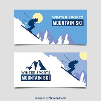Banners de conceito de esportes de inverno com montanha íngreme