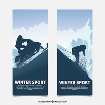 Banners de conceito de esportes de inverno com silhueta escura