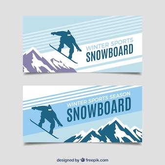 Banners de conceito de esportes de inverno de snowboard