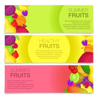 Banners de conceito de frutas, estilo cartoon