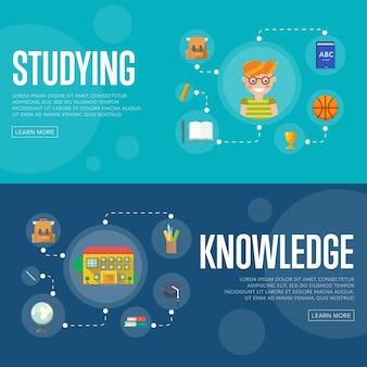 Banners de conceito de infográficos de educação