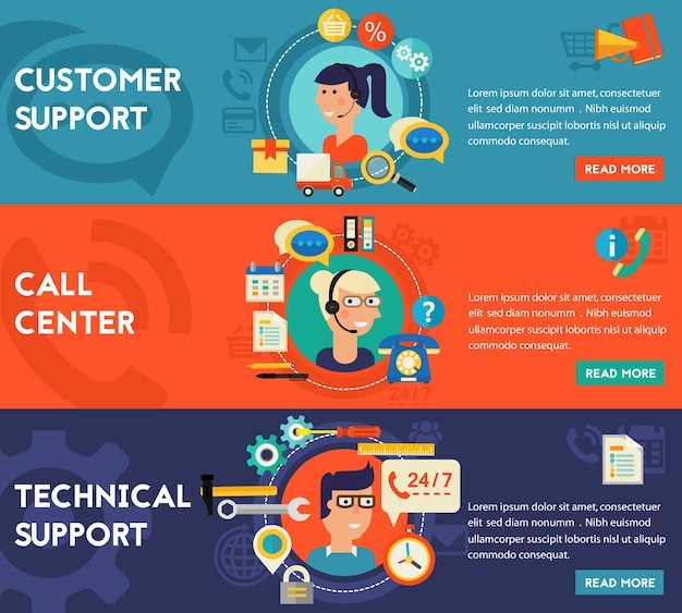 Banners de conceito de suporte técnico e cliente e call center.