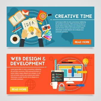 Banners de conceito de tempo criativo e webdesign e desenvolvimento. composição horizontal