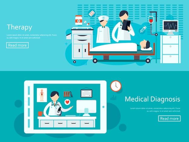 Banners de conceito médico em design plano