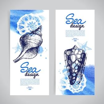 Banners de concha. desenho náutico de mar. esboço desenhado à mão e ilustrações em aquarela