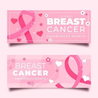 Banners de conscientização do câncer de mama
