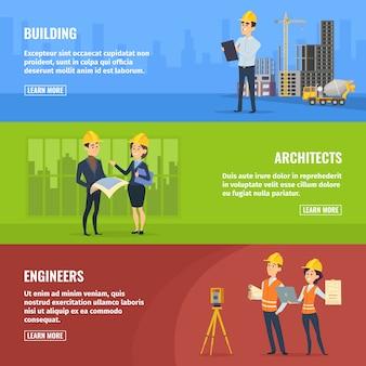 Banners de construtores arquitetos e engenheiros