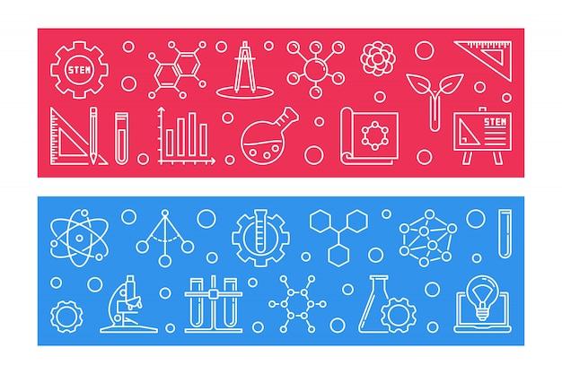 Banners de contorno do conceito de vetor de educação stem