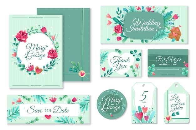 Banners de convite de casamento de desenhos animados de dia dos namorados. modelos de convite de casamento. decoração de banners de cartões com flores, objetos românticos sobre um tema de amor.