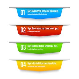 Banners de cor da faixa de opções.