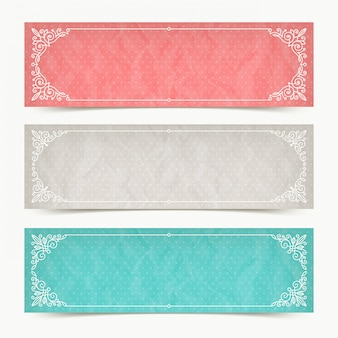 Banners de cor de papel com frames ornamentais elegantes caligráficos de floreios - ilustração