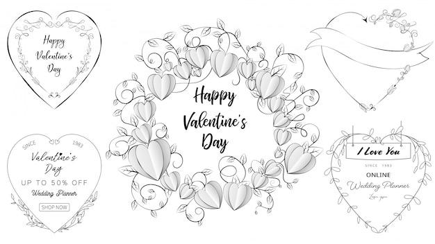 Banners de coração doodle em um conjunto de dia dos namorados e elementos do casamento