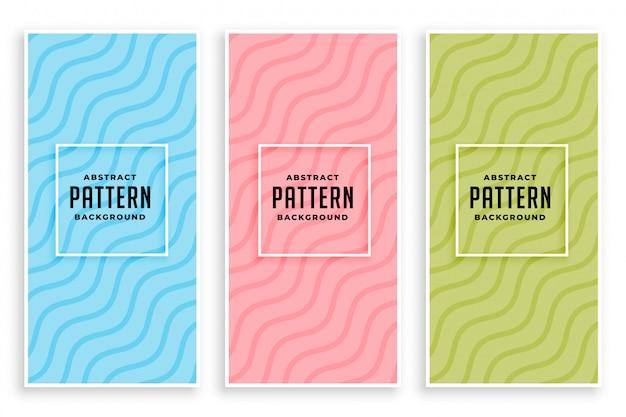 Banners de cores suaves elegantes linhas onduladas diagonais