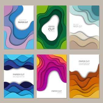 Banners de corte de papel. ondas de corte de origami abstrato com layout de brochura de quadros de decoração de sombras.