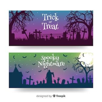 Banners de crepúsculo halloween plana