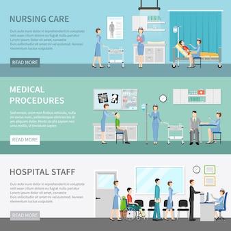 Banners de cuidados de saúde de enfermeira