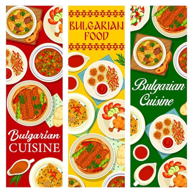 Banners de culinária búlgara, menu de pratos e refeições tradicionais da bulgária