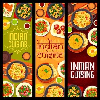 Banners de culinária indiana, comida de especiarias, prato de vegetais