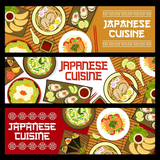 Banners de culinária japonesa, pratos, cardápio de refeições