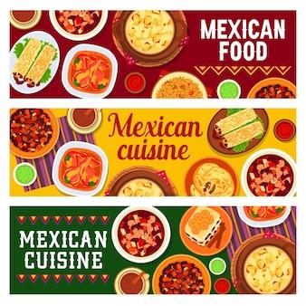 Banners de culinária mexicana com asas de frango picantes