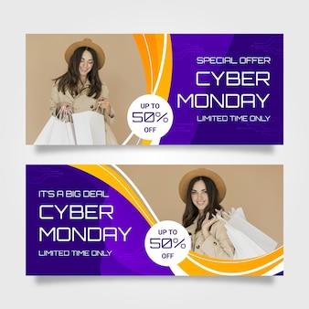 Banners de cyber monday com foto em design plano