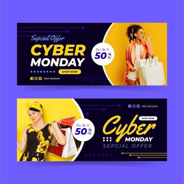 Banners de cyber monday com foto