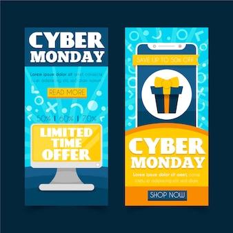 Banners de cyber monday em design plano