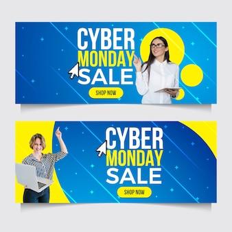 Banners de cyber segunda-feira de design plano com foto