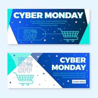 Banners de cyber segunda-feira de design plano