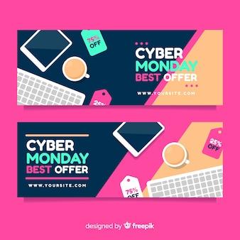 Banners de cyber segunda-feira moderna com design liso