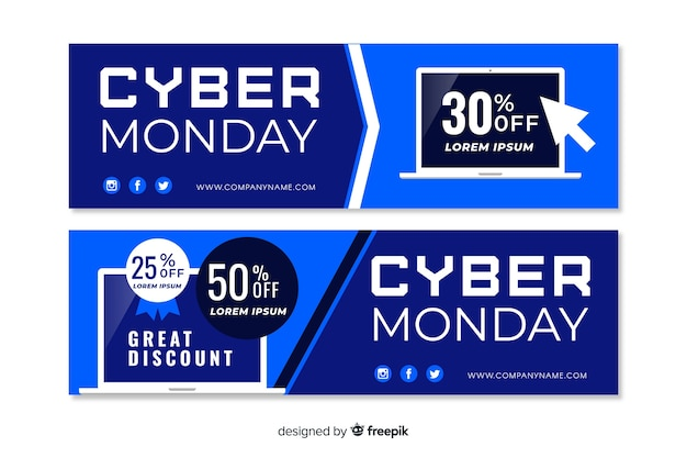 Banners de cyber segunda-feira plana