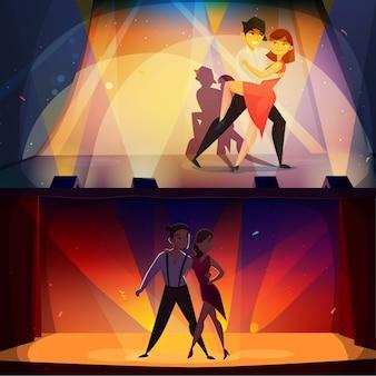 Banners de dança conjunto cartoon retrô
