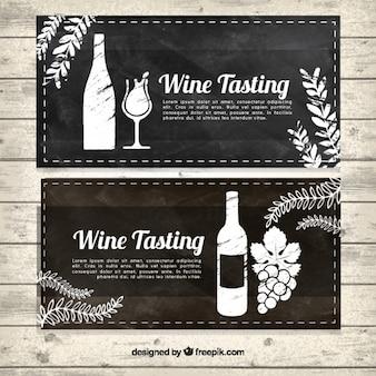 Banners de degustação de vinhos no estilo do vintage