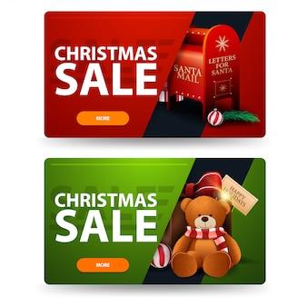 Banners de desconto de natal de vermelho e verde com botões, caixa de correio de papai noel e presente com ursinho de pelúcia