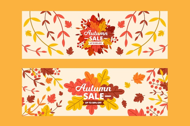 Banners de desconto de venda de outono de design plano