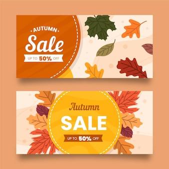 Banners de desconto de venda outono design plano