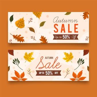 Banners de desconto de venda outono