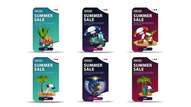 Banners de desconto verde, azul e rosa com elementos de verão e botões para o seu site