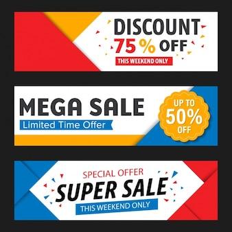 Banners de descontos de vendas