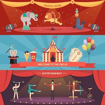 Banners de desempenho de circo