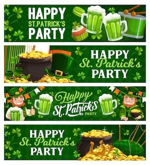 Banners de desenho animado do st. patricks day