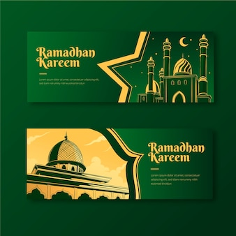 Banners de desenho com tema do ramadã