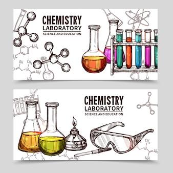 Banners de desenho de laboratório de química