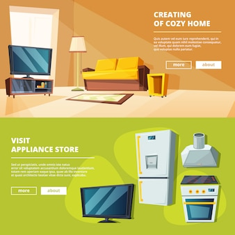 Banners de desenhos animados com ilustrações de vários móveis para cozinha e sala de estar