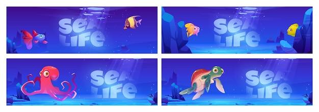 Banners de desenhos animados da vida marinha
