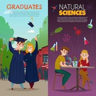 Banners de desenhos animados de alunos da escola