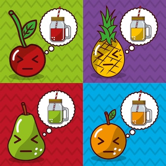 Banners de desenhos animados de frutas e sucos kawaii