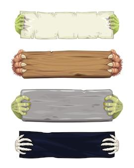 Banners de desenhos animados de halloween com mãos de monstros