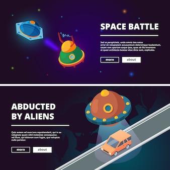Banners de desenhos animados de naves espaciais