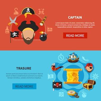 Banners de desenhos animados de tesouro de pirata
